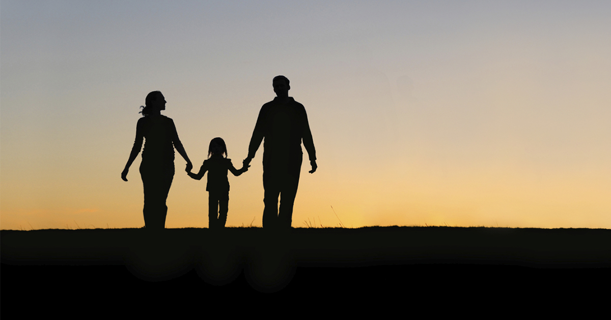Silhouette of one-child family