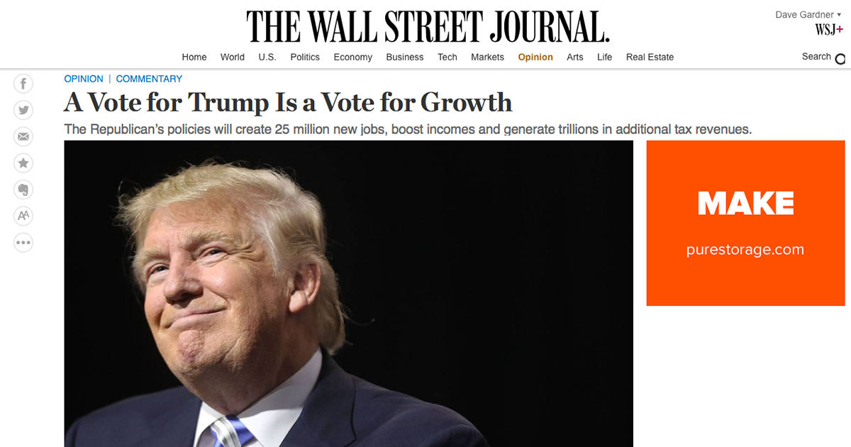 Vote for Trump is vote for growth headline
