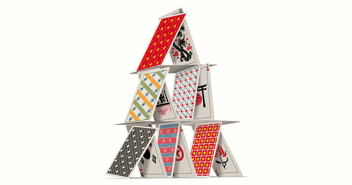 Pyramid of playing cards