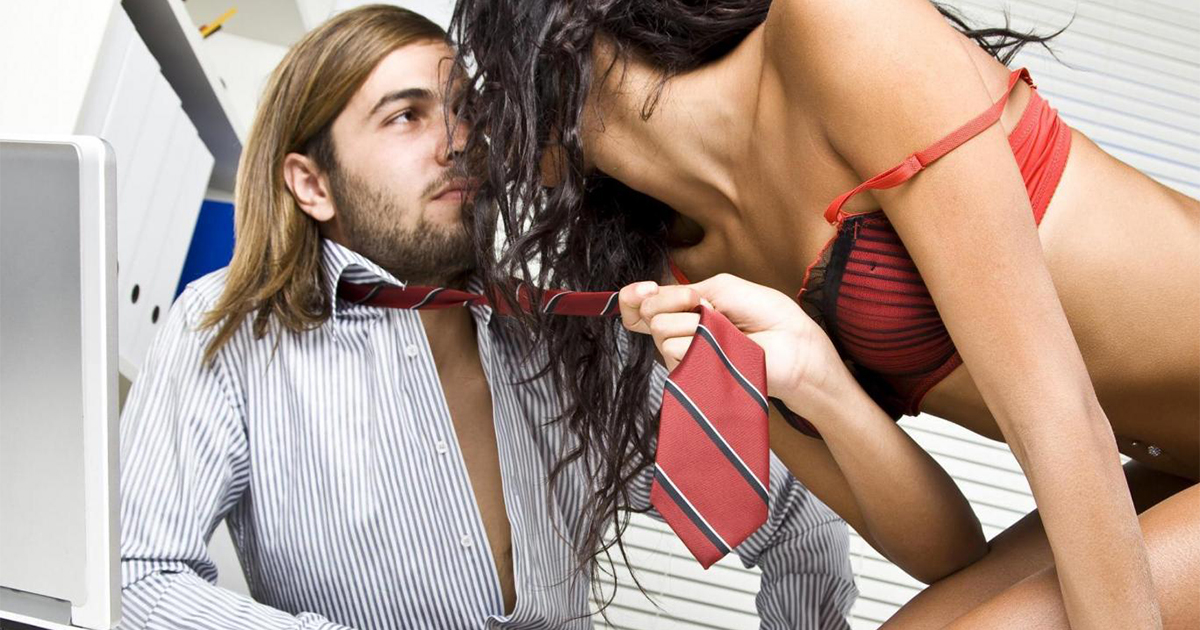Undressed couple at office