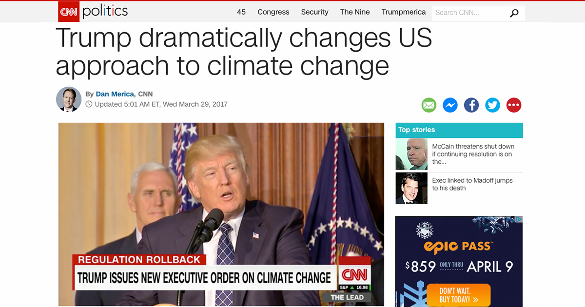 Trump changes US approach to climate change headline